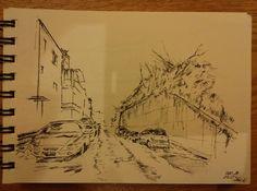 It's a street in korea after snow