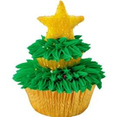 Two-Tiered Tree Cupcakes  I wonder if this would work with the big cupcake and a few other cupcakes to make a tiered tree cake...