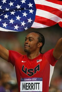 Day 12 of the London 2012 Olympics : Aries Merritt of the USA celebrates after winning gold in the Men's 110m Hurdles Final.