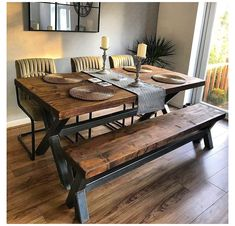 Steel Dining Table, Dining Table With Bench, Dining Table Design, Dining Room Table, 8 Seater Dining Table, Wood Table Rustic, Reclaimed Wood Dining Table, Solid Wood Dining Table, Dining Room Sets