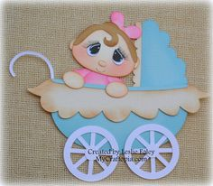 Baby Carriage Premade Scrapbooking Embellishment by MyCraftopia, $6.95