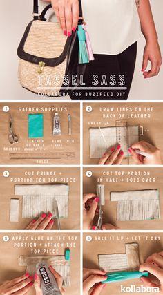 DIY Kollabora Tassel Bag Buzzfeed #diy #mystolt.de #stolt #tassel #bag #leather