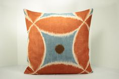 "20"" x 20"" Ikat - ""ADA"" Pillow Cover -Designer  fabric - Back fabric-Solid (natural)"