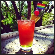 In honor of #SanDiego #Pride we were featuring a special drink- Proud Punch with Midori, Malibu, fresh pineapple juice and a splash of cranberry!
