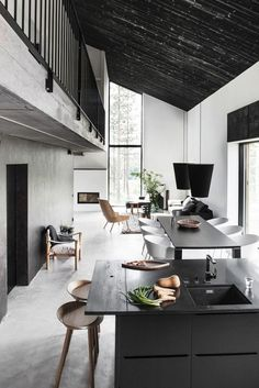 Interior design / kitchen / black n white