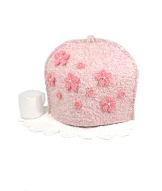 Pink teapot cover Vintage felted wool Medium tea pot cozy Flower tea cozy Sakura cherry blossoms Girly pink kitchen Mothers Day gift