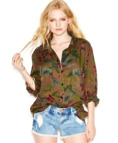 Sanctuary Floral Snap-Front Boyfriend Shirt($74.99)