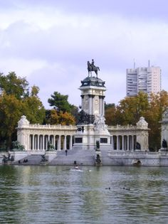 Huge statue in central city park in Madrid, Spain