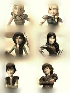 Hiccup Heather Astrid progression - Riders of Berk to RTTE