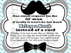 Printable Bring a Book Card Insert Mustache Baby by PartyPaloozza, $1.75