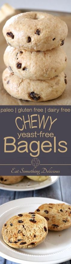 Chewy, Yeast-Free Bagels | Easy paleo bagels without the hassle of proofing yeast and waiting for them to rise. Try cinnamon raisin, sesame, or use your favorite toppings and mix-ins! | eatsomethingdelicious.com