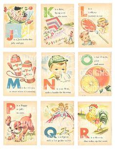 Baby's First ABC - Vintage Illustrated Childrens Alphabet Cards - Nursery - Clip Art - Digital Collage Sheet - Printable Images Vintage, Vintage Design, Vintage Pictures, Vintage Cards, Vintage Prints, Vintage Ideas, Childrens Alphabet, Decoupage, Alphabet Cards