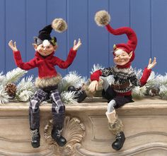 RAZ Elves from the Woods Collection, elves are posable and all dressed up in sweaters, boots and winter caps.