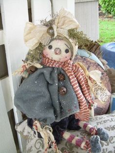 "Primitive Prim Folk Art Snowman Snowwoman W/ Sled "" TOASTY"" Must see!! #NaivePrimitive #LeahsWhimsicalcorner THIS DOLL IS NOW AVAILABLE ON eBAY!! THANK YOU!!:0) SOLD"