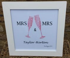 Mrs and Mrs 'Champagne' Word Art Frame in white