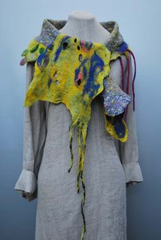 hand dyed nuno felt scarf bird of paradise