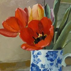 """""""Red Tulips in Blue and White Jug"""" - Original Fine Art for Sale - © Joanna Olson"""