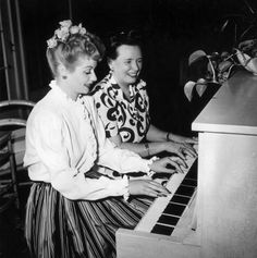 Lucille Ball and her mother at the piano