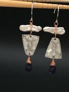Pearl Earrings Amethyst Earrings Fine by AngelWearDesigns2013