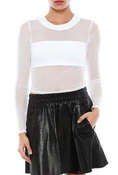Donna Mizani Leatherette Banded Top, White, Size XS censored #DonnaMizani #Sexy