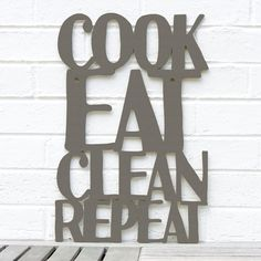 Cook Eat Clean Repeat MINI kitchen sign plaque by spunkyfluff