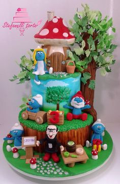 Smurfs cake - Cake by stefanelli torte Fancy Cakes, Cute Cakes, Fiesta Cake, Chocolate Diy, Birthday Cake Girls, Novelty Cakes, Girl Cakes, Fondant Cakes, Cake Creations