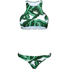 Green Tropical Leaf Print Racer Back Bikini Top And Bottom (305 ZAR) ❤ liked on Polyvore featuring swimwear, bikinis, swim wear, racerback swimwear, green bikini, swim bikini and racerback bikini top