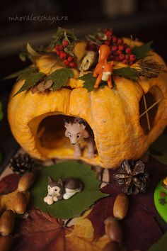 Kids fall craft idea - pumpkin house