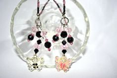 Goth Enamel Pink and Black Butterfly Themed by byFoxdenCreations, $23.90