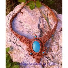 Macrame necklace with stone. Nostalgie handmade by Tatjana .  Facebook page https://www.facebook.com/Nostalgie-Handmade-by-Tatjana-425760884176858/