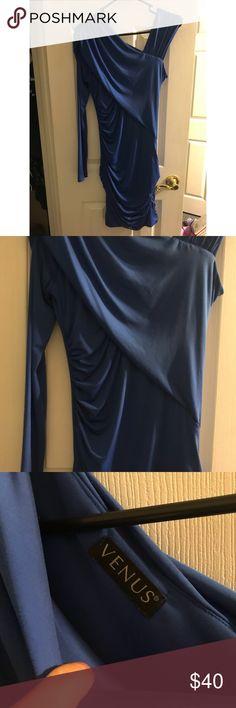 blue one sleeve dress feels silky VENUS Dresses One Shoulder