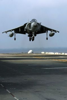 "Pacific Ocean (Nov. 9, 2005) -- An AV-8B Harrier, assigned to the ""Black Sheep"" of Marine Attack Squadron Two One Four (VMA-214), prepares to land on the flight deck of the amphibious assault ship USS Peleliu (LHA 5). Peleliu is currently underway off the coast of Southern California for an Expeditionary Strike Group exercise. U.S. Navy photo by Photographer's Mate 2nd Class Regina L. Brown (RELEASED)"