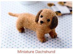 DIY Needle wool felt Miniature dachshund KIT door HanamiBoutique