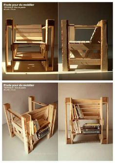 An interesting concept for this chair with integrated bookcases on the back and all made with recycled pallets. A work by echo-system.fr on design icons diversion, it was conducted as part of his graduation project in 2009 and exhibited at the