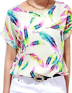 93909360f28ae Women s Chiffon Batwing Sleeve Floral Print Tops Blouse T-Shirt Plus Size  Clothing Catalogs