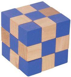 Würfelschlange blau Holz Puzzle aus Holz Geduldspiel 108344