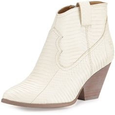 Frye Reina Snake-Print Western Bootie ($279) ❤ liked on Polyvore featuring shoes, boots, ankle booties, ankle boots, white, high heel booties, cowgirl boots, high heel ankle boots, leather booties e white leather boots