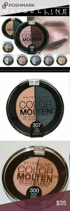 🌟Maybelline Color Molten🌟 NEW Maybeline Color Molten by eye studio. The last picture is of the product I have all unopened.  New and selling all 6 in this listing together. #300 NUDE RUSH; #301 TAUPE CRAZE; #303 MIGNIGHT MORPH; #304 SAPPHIRE MIST ; #305 PLUM FUSION; #307 TEAL TWIST.   All containers are 0.07oz/2.1g Maybelline Makeup Eyeshadow