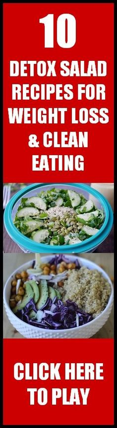10 of my favorite delicious Detox Salad Recipes for Weight Loss and Clean & Healthy Eating… Enjoy! Clean Eating Diet, Clean Eating Recipes, Eating Habits, Cooking Recipes, Eating Healthy, Weight Loss Meals, Weight Loss Detox, Healthy Recipes For Weight Loss, Lose Weight