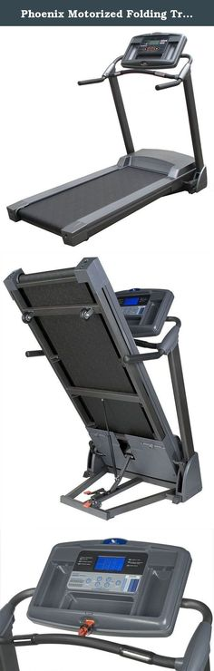 Phoenix Motorized Folding Treadmill. Over-sized LCD showing speed, time, distance, incline, calories burned and heart rate. 6 Challenging preset exercise programs. Dual-stage soft drop folding. Patented swing arm shock absorption system. 20 in. x 55 in. Whisper weave tread belt. Powerful yet quiet 2.5 HP motor. Over-sized LCD console. Heart rate control. Superior stability. 9 Storable user profiles. Warranty: 5 Years on frame 1-Year on motor, controller board and electronics 90 Days for…