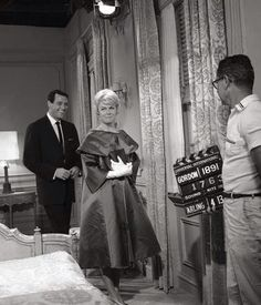 Rock Hudson and Doris Day filming a scene for Pillow Talk (1959).