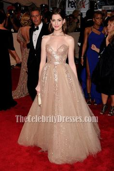 Anne Hathaway Strapless Gold Sequined Prom Dress Met Ball 2010 Red Carpet.  Concert DressesEvening ... 82f279239ec2