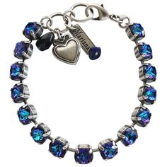 "Mariana Silver Plated Classic Shapes Swarovski Crystal Bracelet, 7.5"" Heliotrope. Available at www.regencies.com"