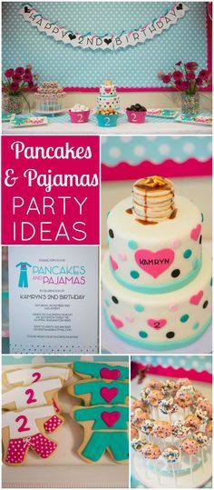 An adorable pancakes and pajamas party in hot pink and turquoise! See more party ideas at CatchMyParty.com!