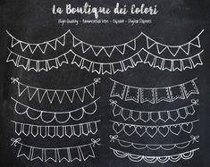 Tafel Bunting Banner doodle Digital ClipArt von LaBoutiqueDeiColori