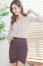 gathered neck blouse + pleated tulip skirt 1-pc. dress  CODE: EMK21-O-590  Price: SG $77.30 (US $62.34)
