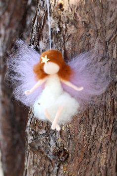 Little Angel, Fairy, Christmas, Xmas, Needle felted, Waldorf, Star, Ornament, Hanging, Gift, White, Tree Ornament, Decoration,Decor,Lavender...