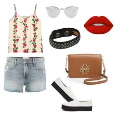 """""""hangout-comfortable outfit #3"""" by kiwiid on Polyvore featuring Gucci, Frame, Opening Ceremony, Tory Burch, Fendi, COWBOYSBELT and Lime Crime"""