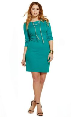 Texture Mix Sheath Dress | ELOQUII.com