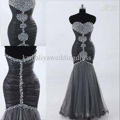 Wholesale New Arrival Discount Modest Mermaid Sweetheart Sequin Ruffles Tulle Prom Dress Evening Dresses, Free shipping, $115.36-137.76/Piece | DHgate